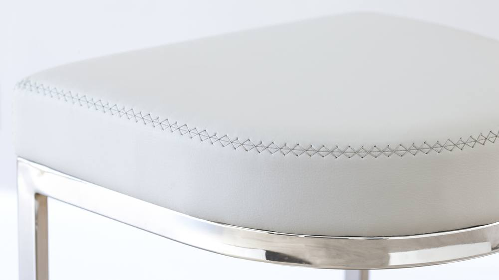 Modern Designer White Faux Leather and Chrome Barstools
