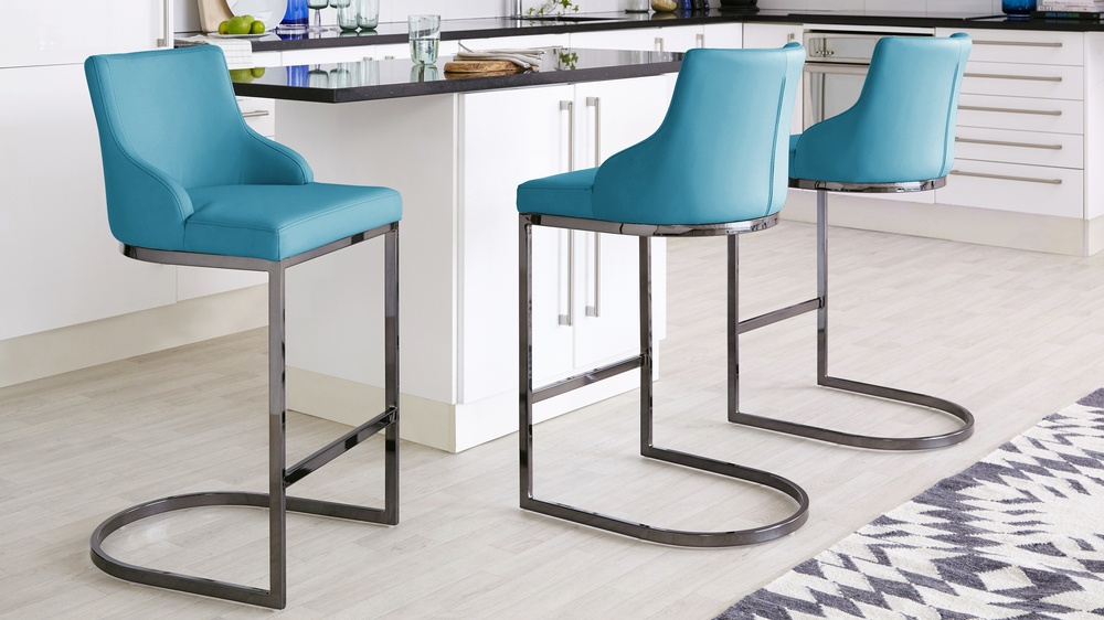 Teal chrome barstools with hight back