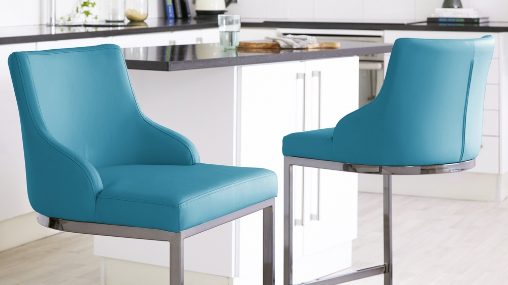 teal barstools with backrest