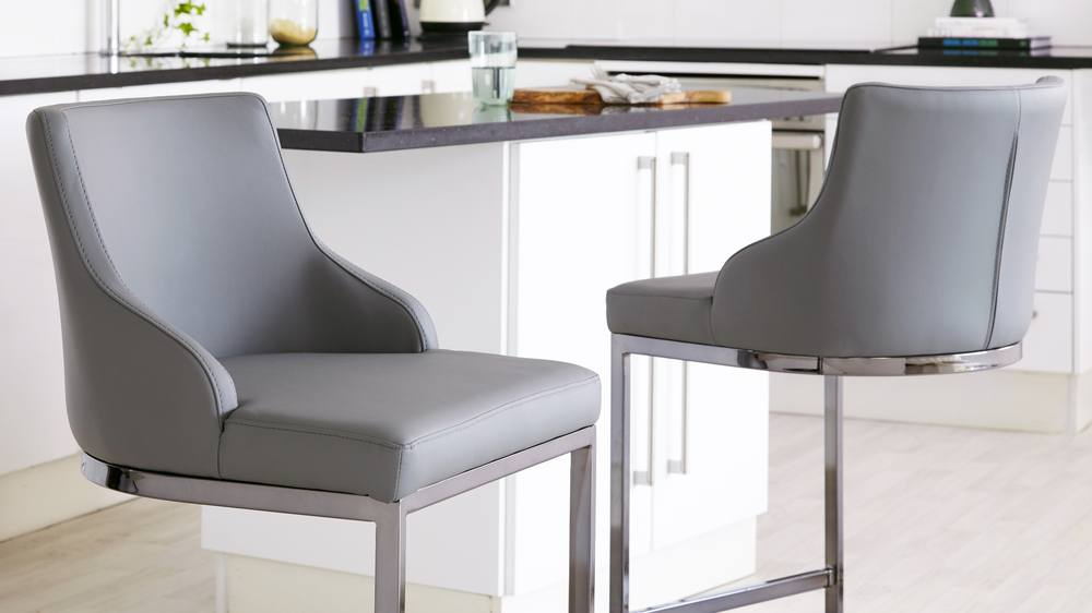 Black Chrome Bar Stool With Backrest Danetti Uk