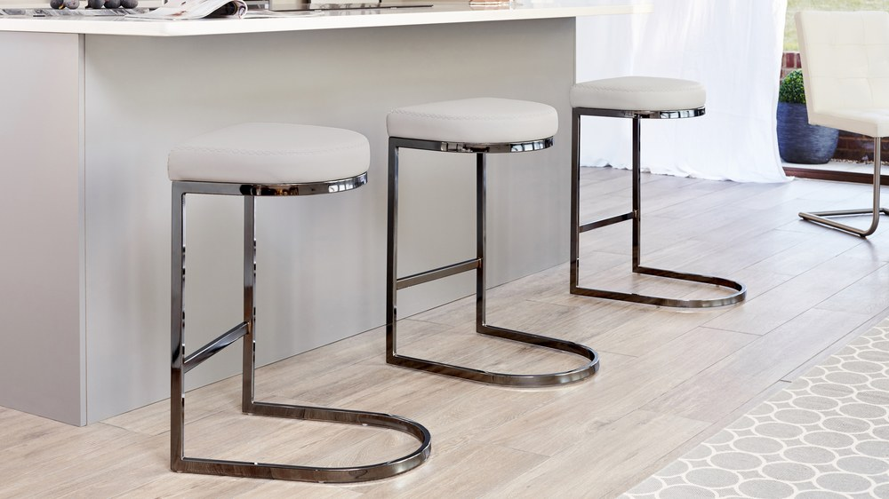 Black Chrome Bar Stool Julia Kendell Range Faux Leather