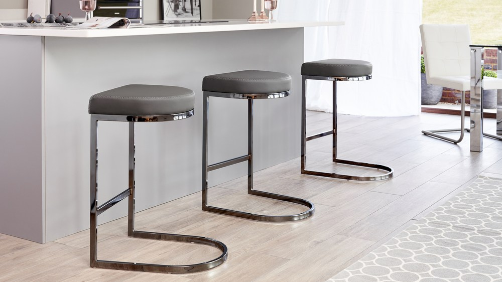 Black Chrome and Black Graphite Grey Bar Stool