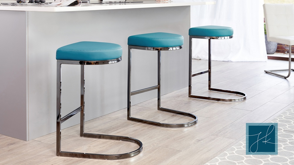 Black Chrome and Teal Modern Bar Stool
