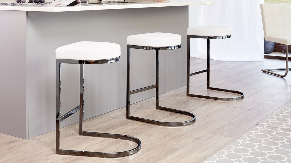 Black Chrome and White Modern Bar Stool