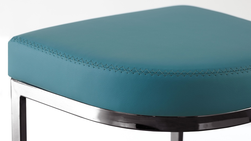 Teal and black chrome bar stool