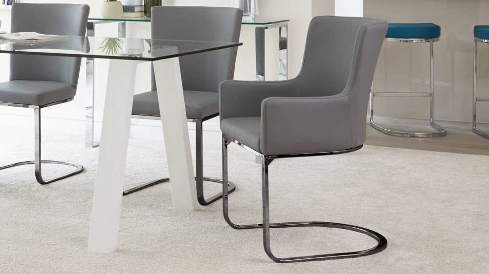 Black chrome comfortable dining armchair