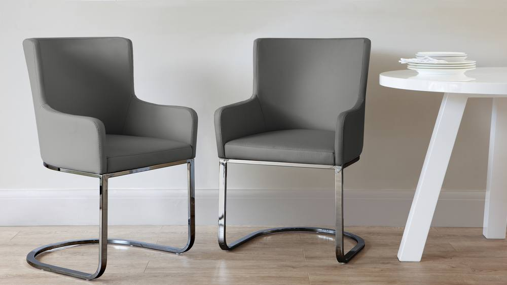 Black Chrome and Grey Modern Armchair