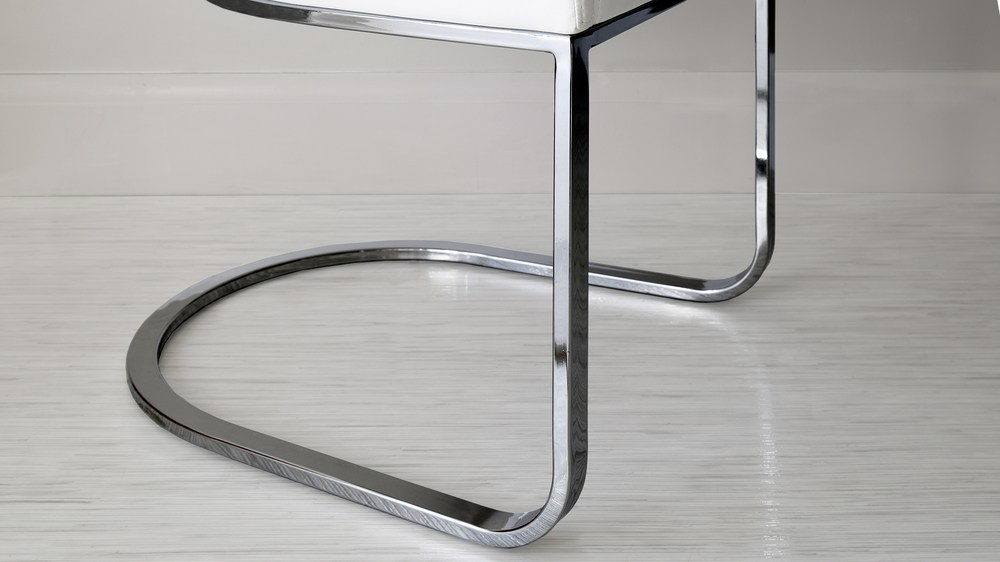 Black Chrome finish cantilever dining chair