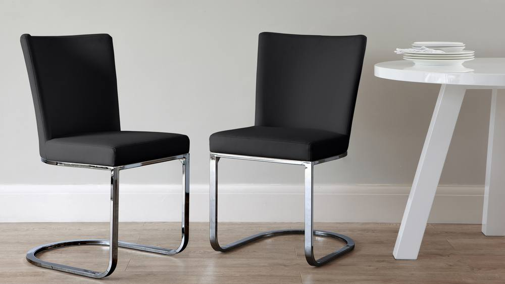 Black Chrome Black Modern Dining Chair