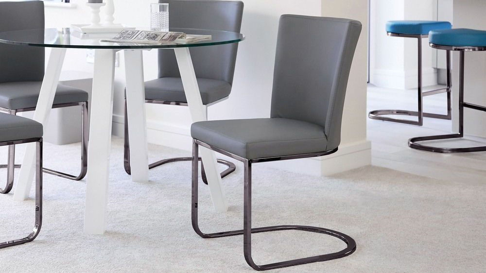 Black chrome modern dining chair