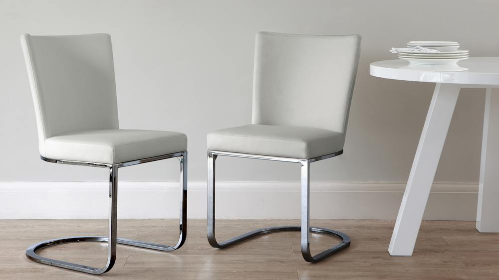 Black Chrome Grey Modern Dining Chair