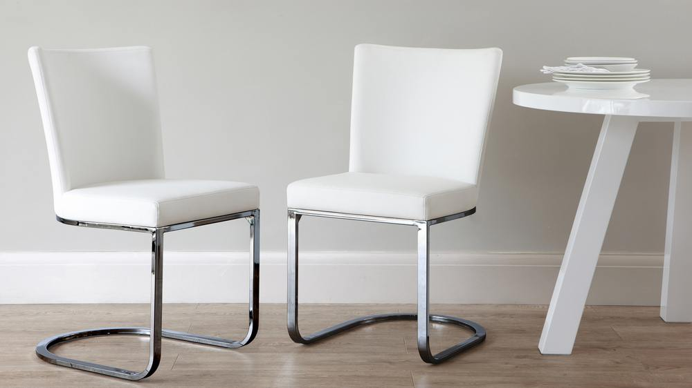 Black Chrome White Modern Dining Chair