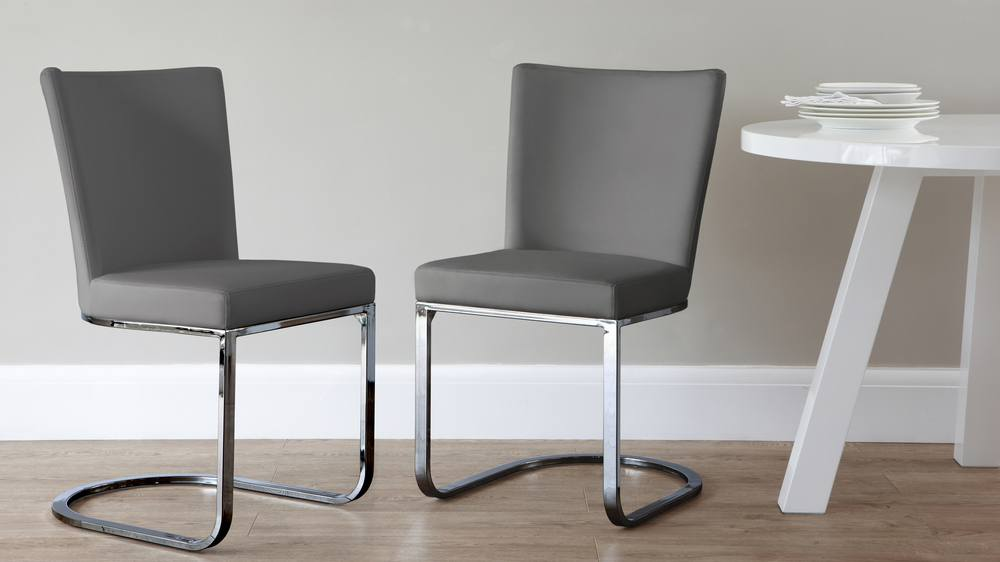 Form Cantilever Black Chrome Dining Chairs Danetti