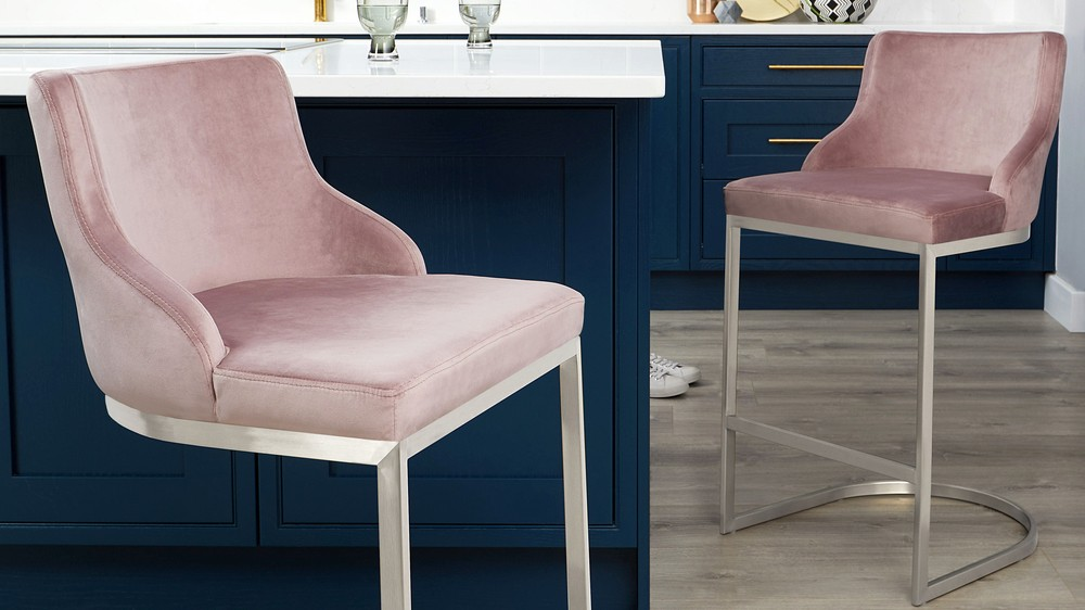 Form Pink Velvet Bar Stools With Backrest Danetti