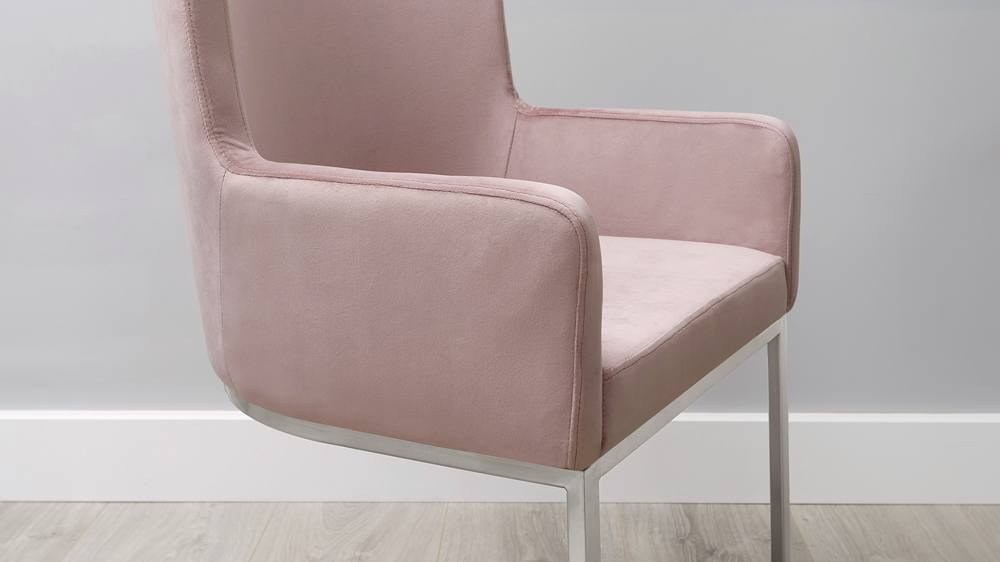 Form Cantilever Pink Velvet Dining Chairs