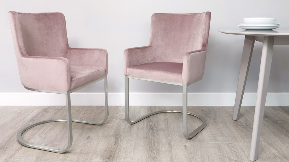 Form Blush Pink Velvet and Brushed Steel Cantilever Dining Armchai