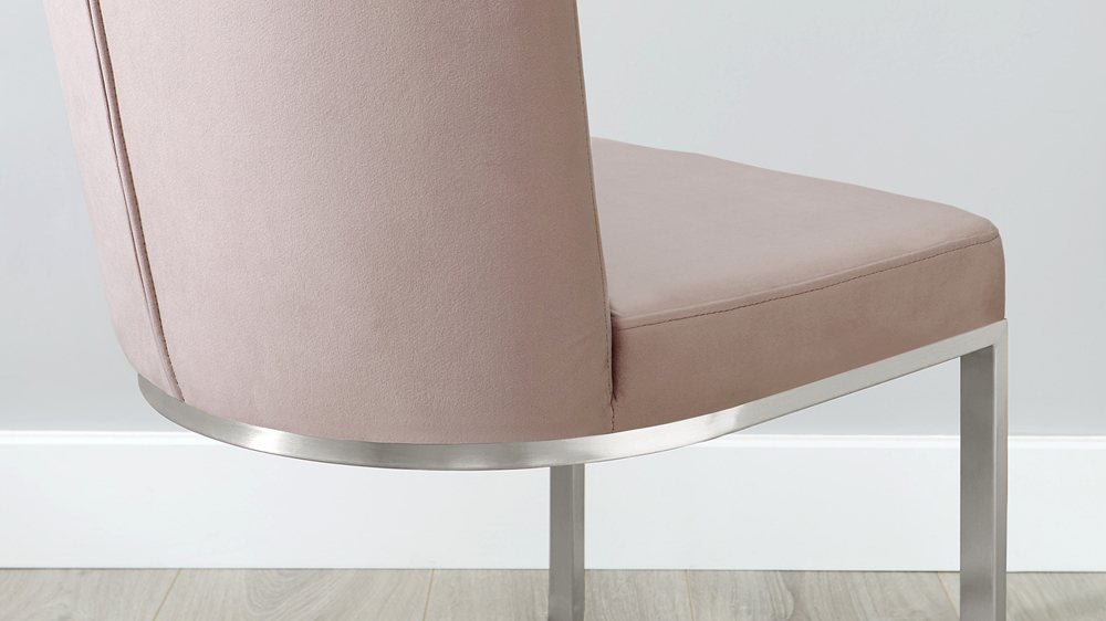 Form Pink Velvet Cantilever Dining Chairs Danetti Uk