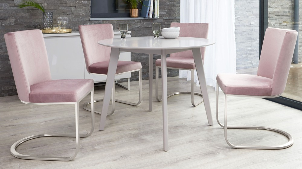 Form Blush Pink Velvet and Brushed Steel Cantilever Dining Chair