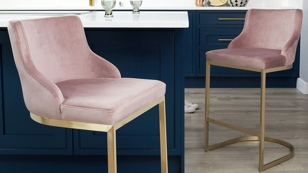 Pink and brass kitchen stool