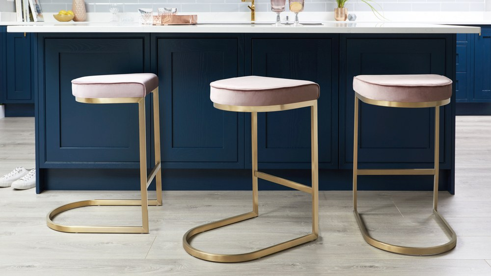 Form Blush Velvet Brushed Brass Bar Stool Danetti Uk