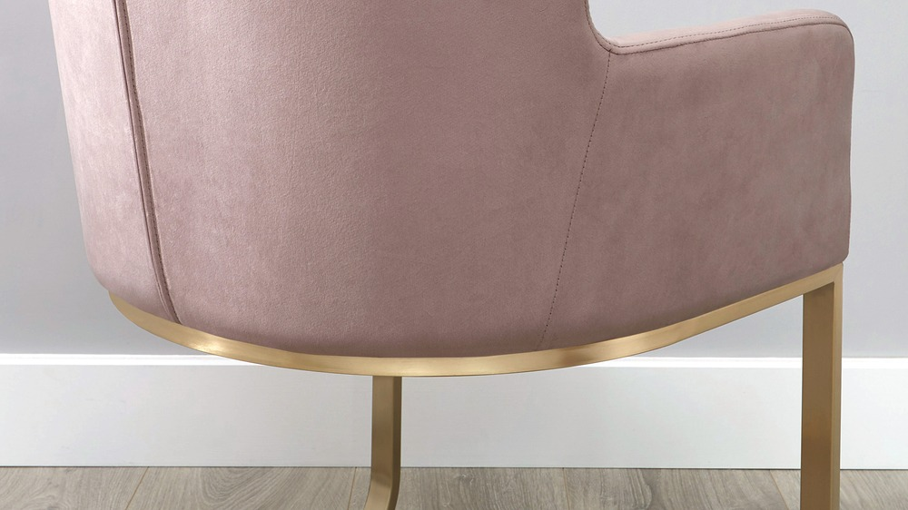 Pink and brass dining chair