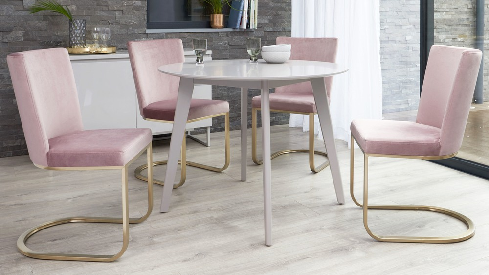 Blush and brass velvet dining chair