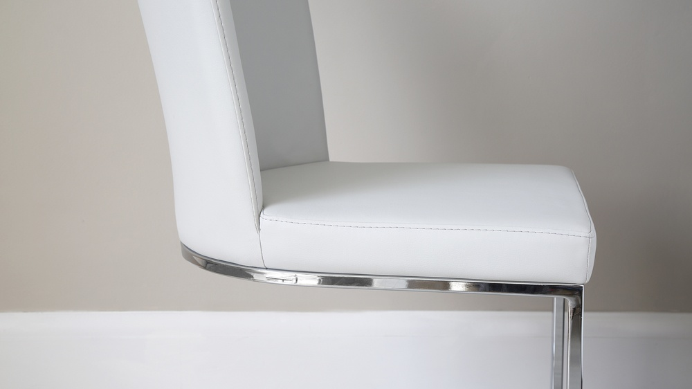 Chrome and Faux Leather Dining Chairs