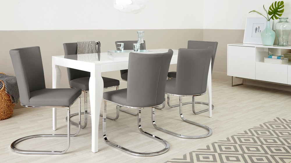 Stylish White Gloss Dining Table and Grey Dining Chairs