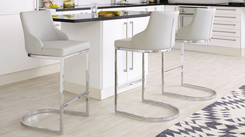 Light grey chrome kitchen stools