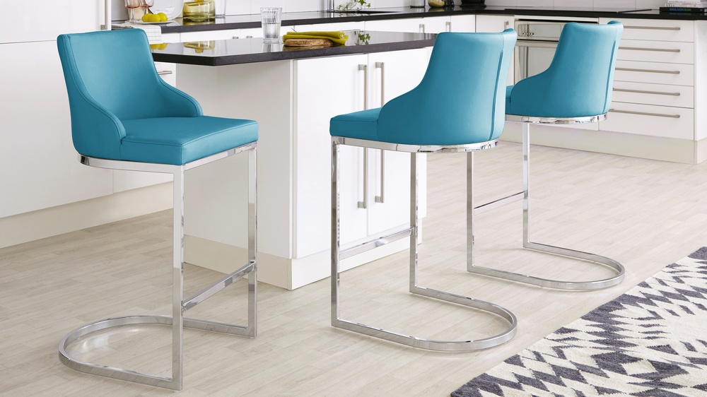 teal and  chrome barstools with high back
