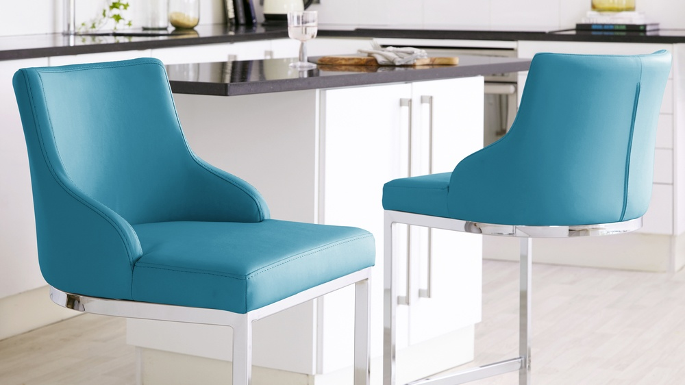 Teal barstools with chrome frame