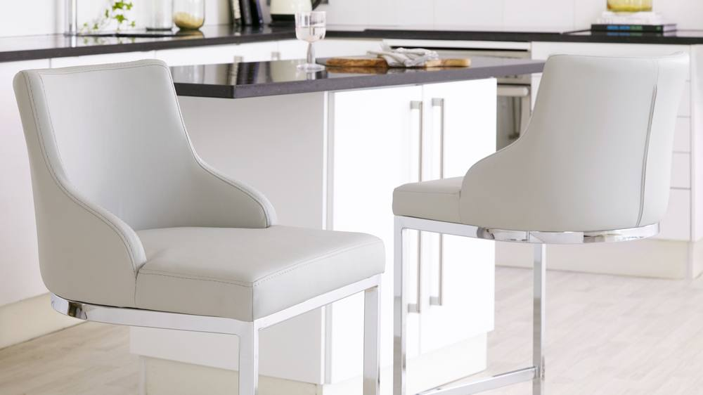light grey barstools with leather seats