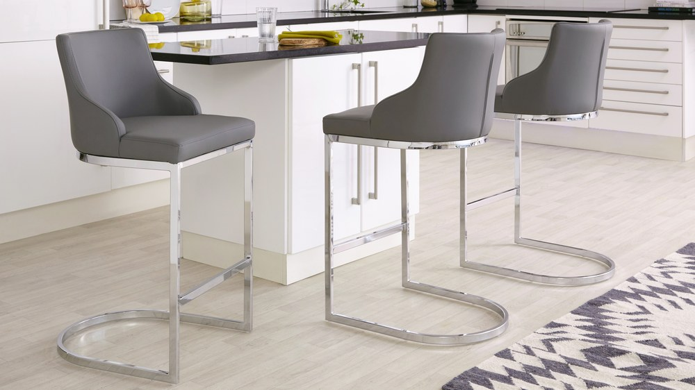 dark grey leather barstools