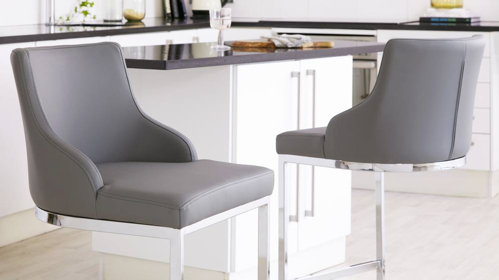 designer grey leather barstools