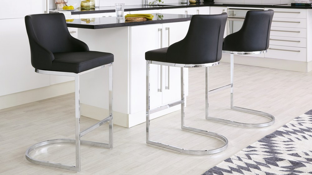 Black leather counter barstools