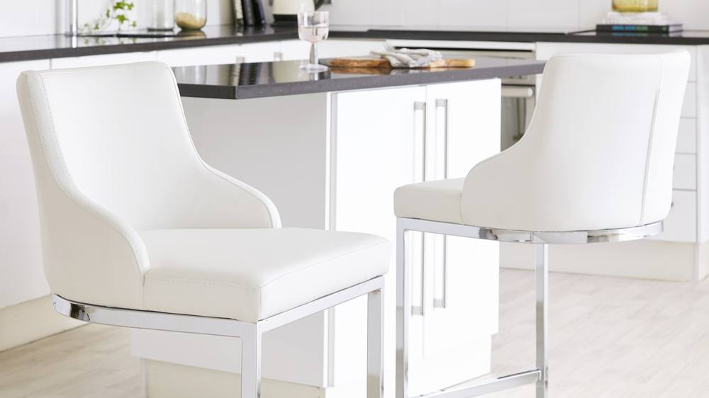 quality white leather kitchen barstools