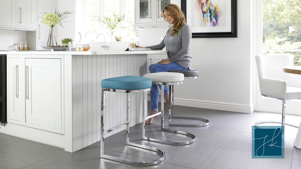 Modern Designer Leather and Chrome Barstools