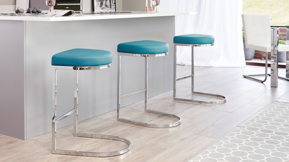 Contemporary Faux Leather And Chrome Bar Stool Uk