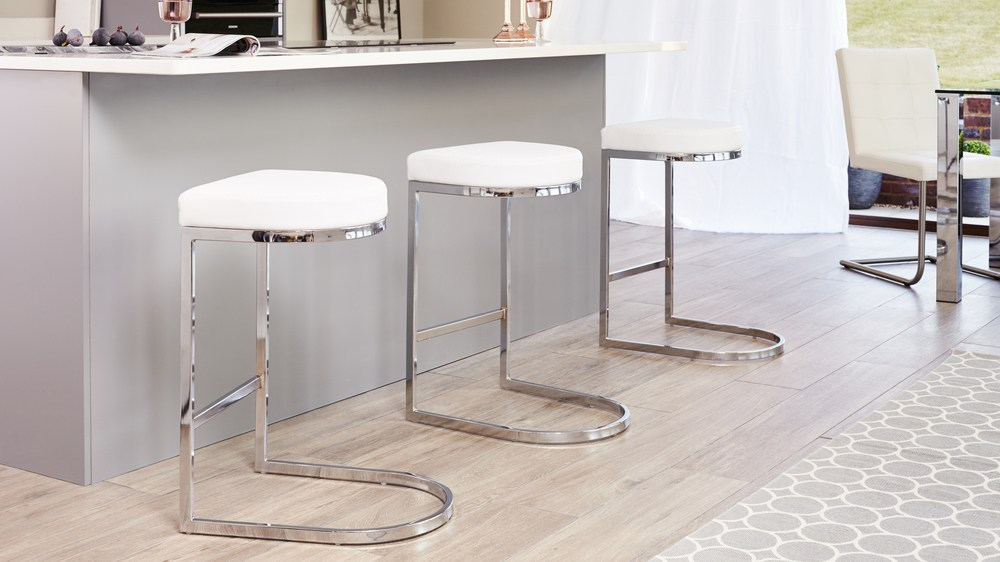 Contemporary Faux Leather And Chrome Bar Stool Danetti Uk
