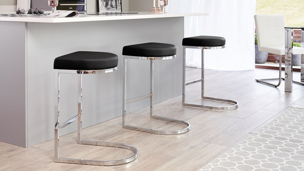 Modern Black Bar Stools with a Chrome Base