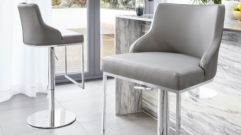Graphite grey faux leather modern bar stools