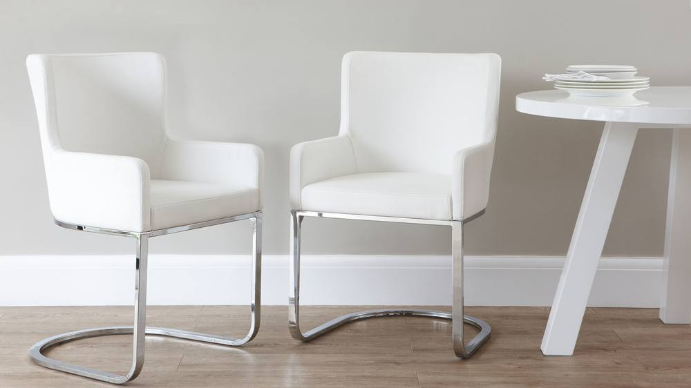 Form Chrome Cantilever Dining Chairs | Danetti
