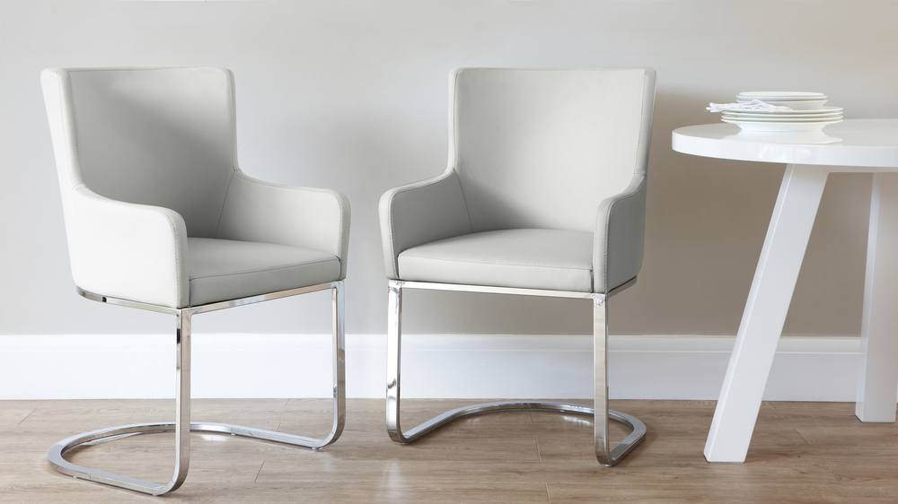 Light Grey Dining Arm Chair