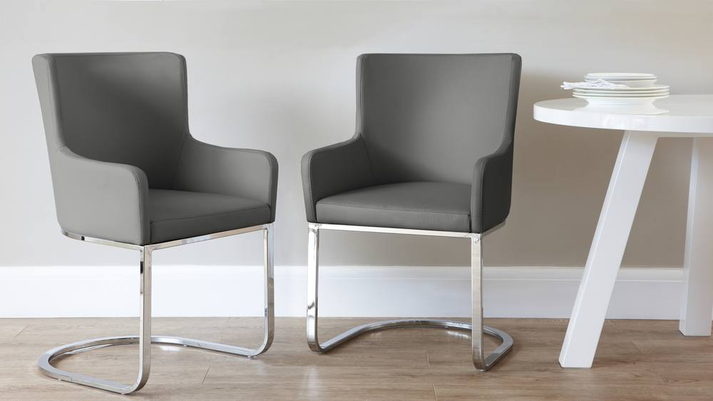 Dark Grey Dining Chair with Arm Rests