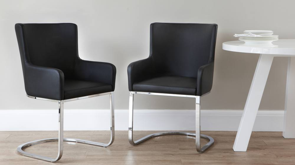 Black Swing Dining Chairs with Arm Rests
