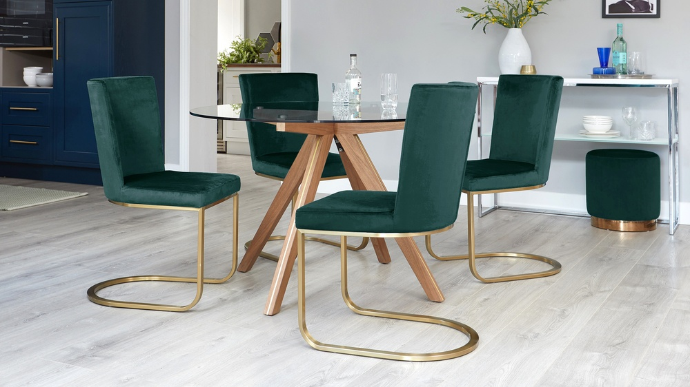 Form Fern Green Velvet and Brass Cantilever Dining Chair