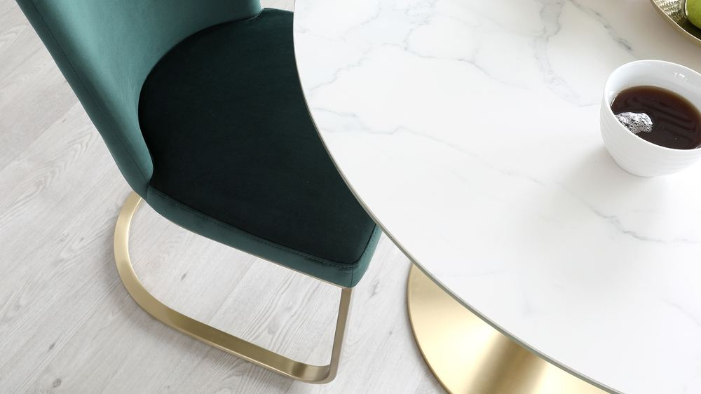 fern and brass dining chair