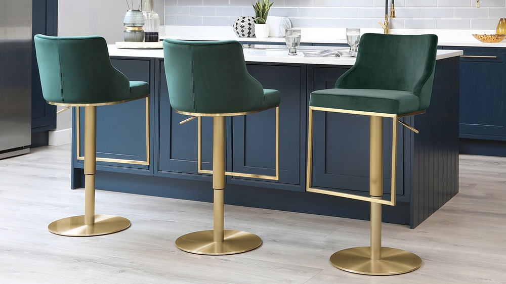 Form Fern Green Velvet and Brass Gas Lift Bar Stool