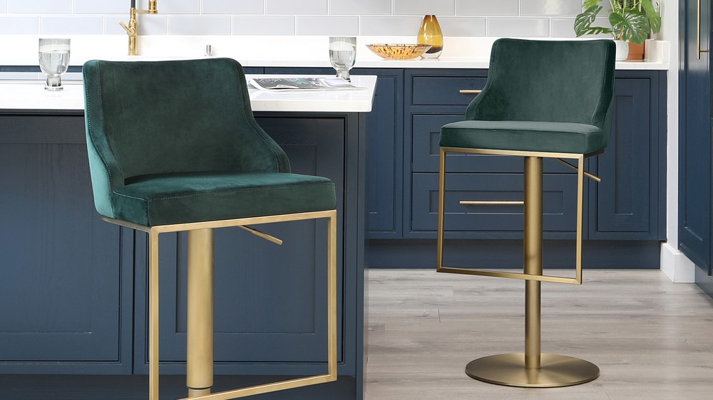 Form brass gas lift bar stool
