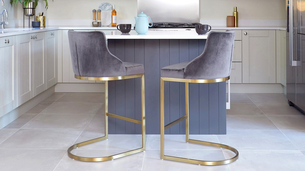 Silver grey velvet cantilever bar stool with backrest